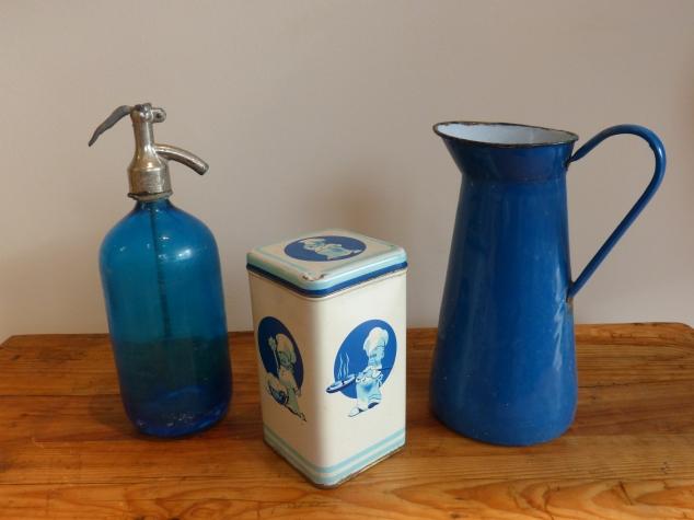 Blue bottle - metal box- enamel pitcher